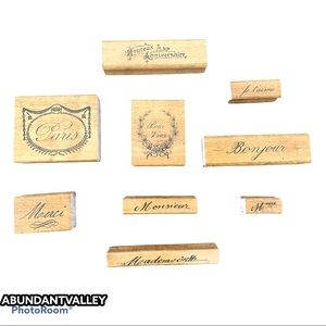 Wood French words stamps set